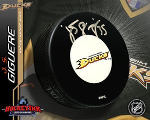 J. S. GIGUERE Signed Anaheim Ducks Puck