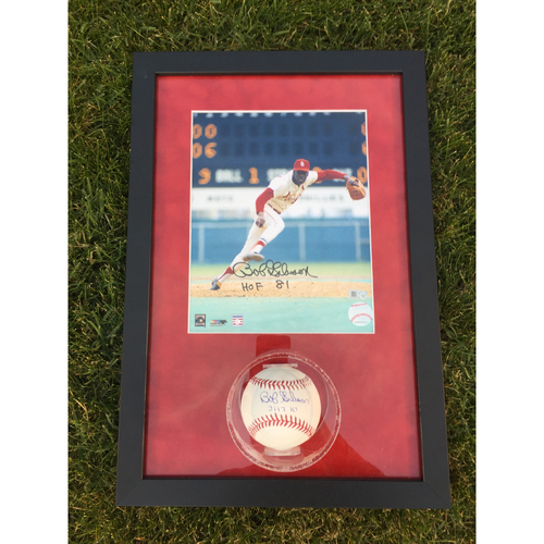 Cardinals Authentics: Bob Gibson Autographed Photo and Ball Frame