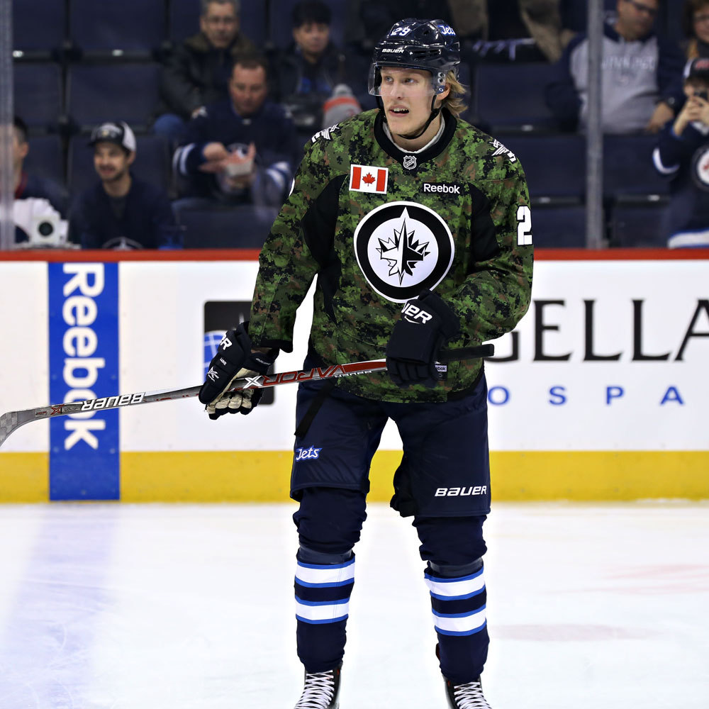 Patrik Laine Winnipeg Jets Warm Up Worn Canadian Armed Forces jersey