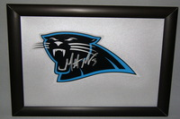 PANTHERS - MATT MOORE SIGNED PANTHERS DECAL WITHIN 8.5 X 11 PICTURE FRAME