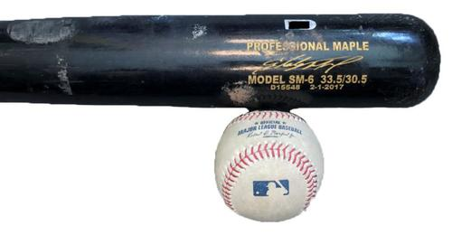 Photo of Starling Marte Game-Used Baseball and Broken Bat from Pirates vs. Braves on 4/8/17