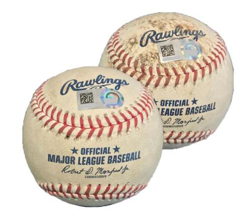 Photo of Two Game-Used Baseballs from Pirates vs. Cubs on 9/4/17 - Kyle Schwarber Strikeouts