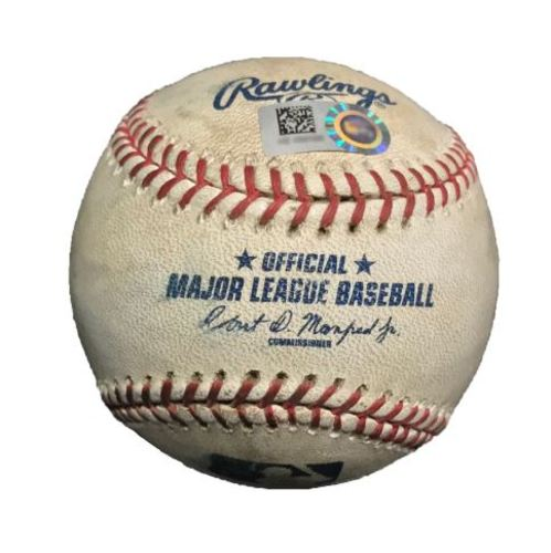 Photo of Game-Used Baseball from Pirates vs. Tigers on 4/14/15 - Victor Martinez Strikeout
