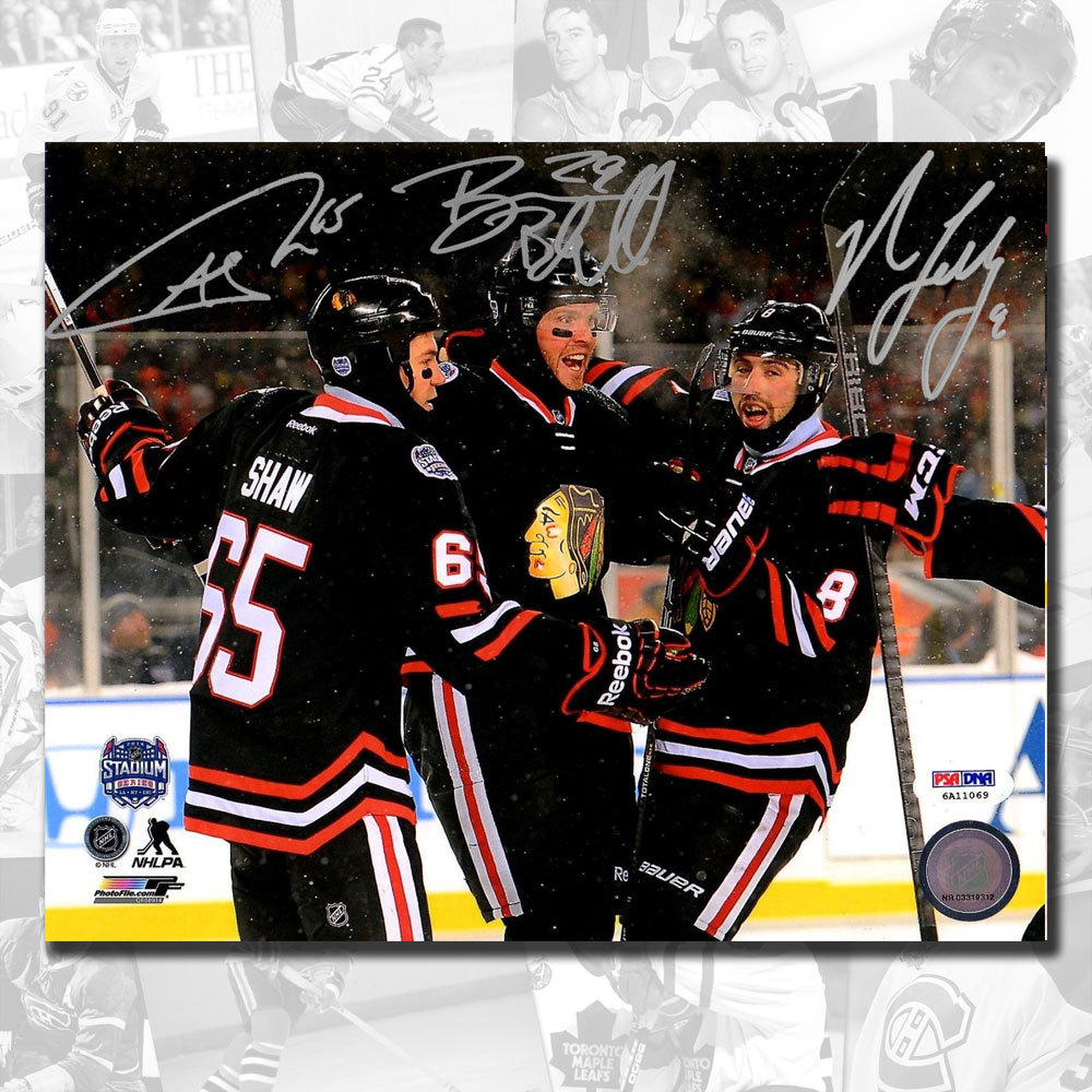 Andrew Shaw, Bryan Bickell & Nick Leddy Chicago Blackhawks 2014 Stadium Series Autographed 8x10