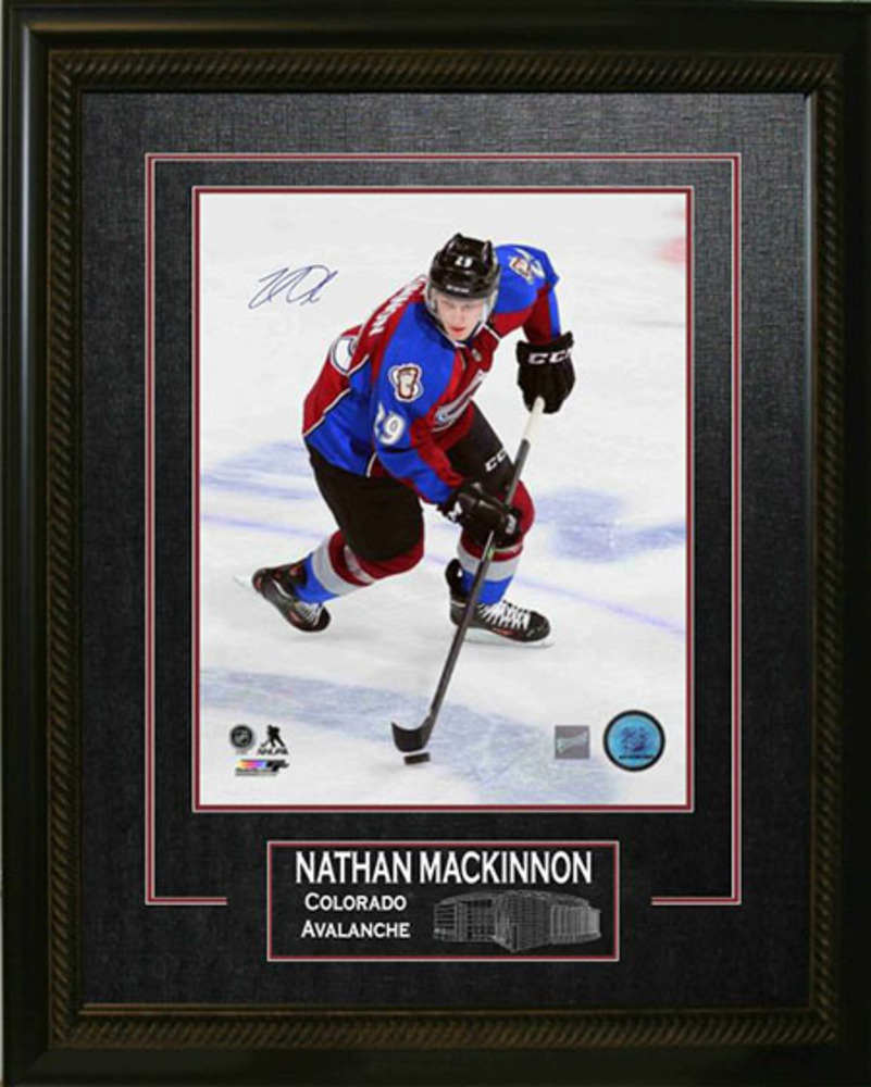 Nathan Mackinnon Signed 16x20 Avalanche Etched Mat Dark Skating
