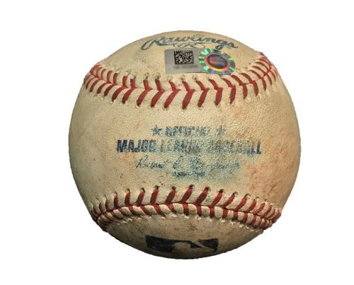 Photo of Game-Used Baseball from Pirates vs. Brewers on 4/18/15 - Andrew McCutchen Hit by Pitch