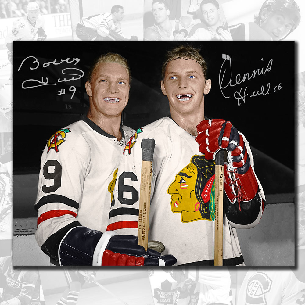 Bobby Hull & Dennis Hull Brothers Chicago Blackhawks Dual Autographed 16x20