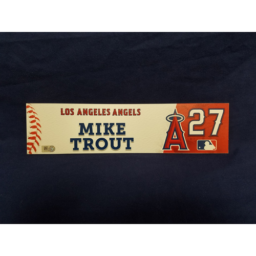 Photo of Mike Trout 2017 Game-Used Locker Tag