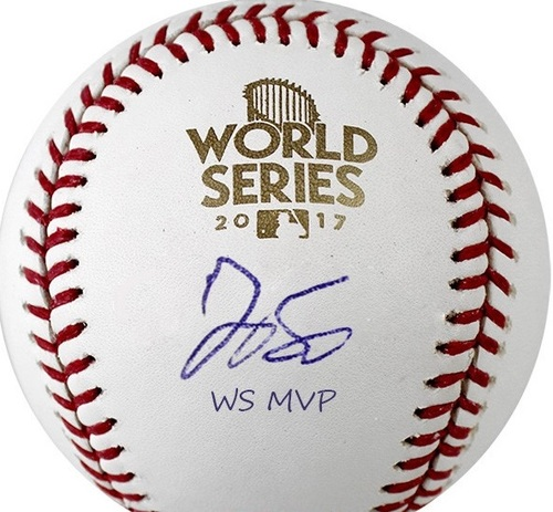 "Photo of George Springer ""WS MVP"" Autographed 2017 World Series Baseball"