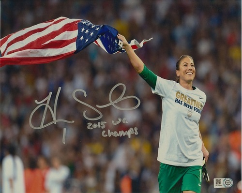 "Photo of Hope Solo Autographed ""2015 WC Champs"" 8x10 Photo"