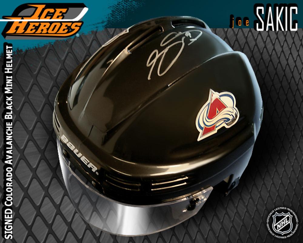 JOE SAKIC Signed Colorado Avalanche Black Mini Helmet