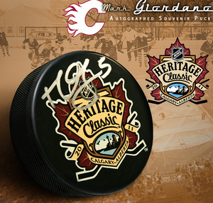 MARK GIORDANO Signed 2011 NHL HERITAGE CLASSIC Souvenir Puck