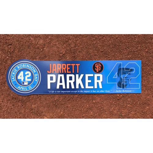 Photo of San Francisco Giants - Game Used - Jackie Robinson Day #42 Locker Tag - Jarret Parker