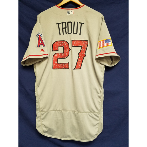 Photo of Mike Trout Team-Issued Road 4th of Jersey