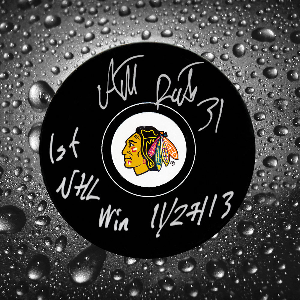 Antti Raanta Chicago Blackhawks 1st NHL Win 11/27/13 Autographed Puck