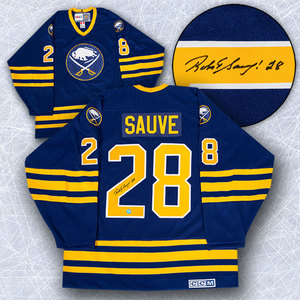 Bob Sauve Buffalo Sabres Autographed Retro CCM Hockey Jersey
