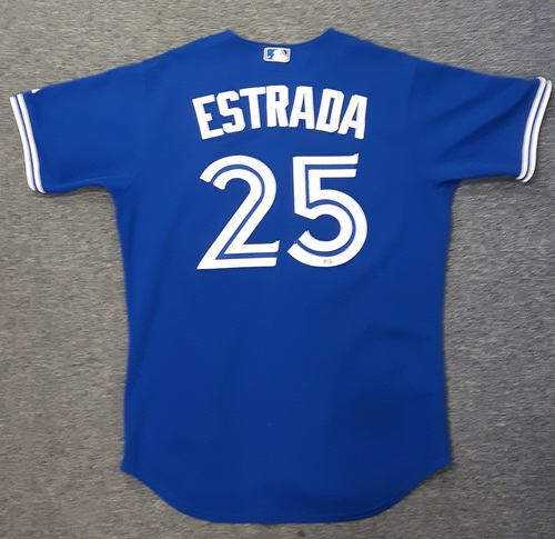 Photo of Authenticated Game Used Jersey - #25 Marco Estrada (September 30, 2015: Blue Jays clinch 1st AL East Title in 22 years).