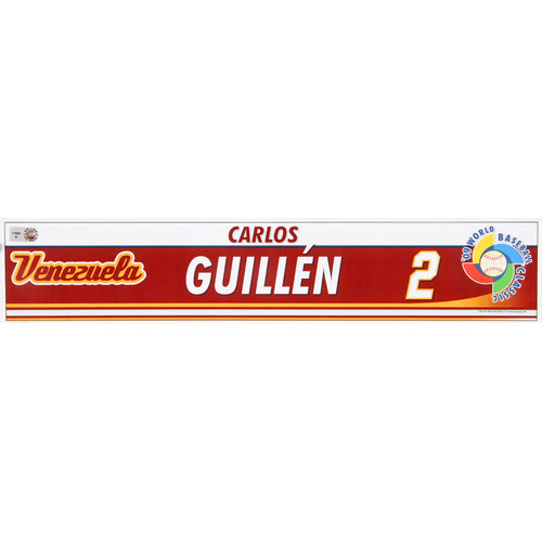 Photo of 2009 WBC: Venezuela Game-Used Locker Name Plate - #2 Carlos Guillen