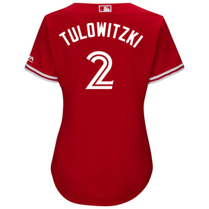 Toronto Blue Jays Women's Cool Base Replica Troy Tulowitzki Alternate Red Jersey by Majestic