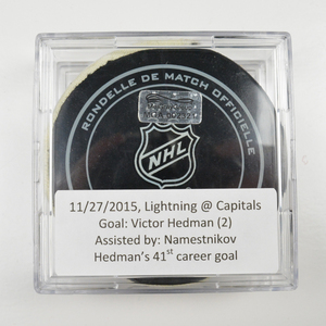 Victor Hedman - Tampa Bay Lightning - Goal Puck - November 27, 2015 (Capitals Logo)