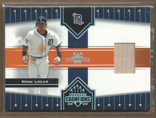 Photo of 2005 Donruss Champions Impressions Material #73 Nook Logan Bat T5