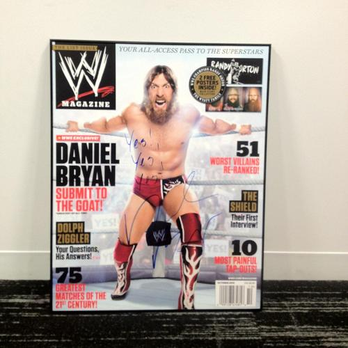 Daniel Bryan SIGNED 24 x 30 framed magazine cover (October 2013)