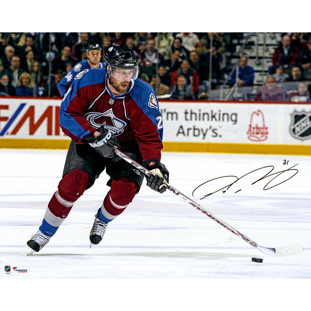 Peter Forsberg Colorado Avalanche Autographed Skating With Puck 16