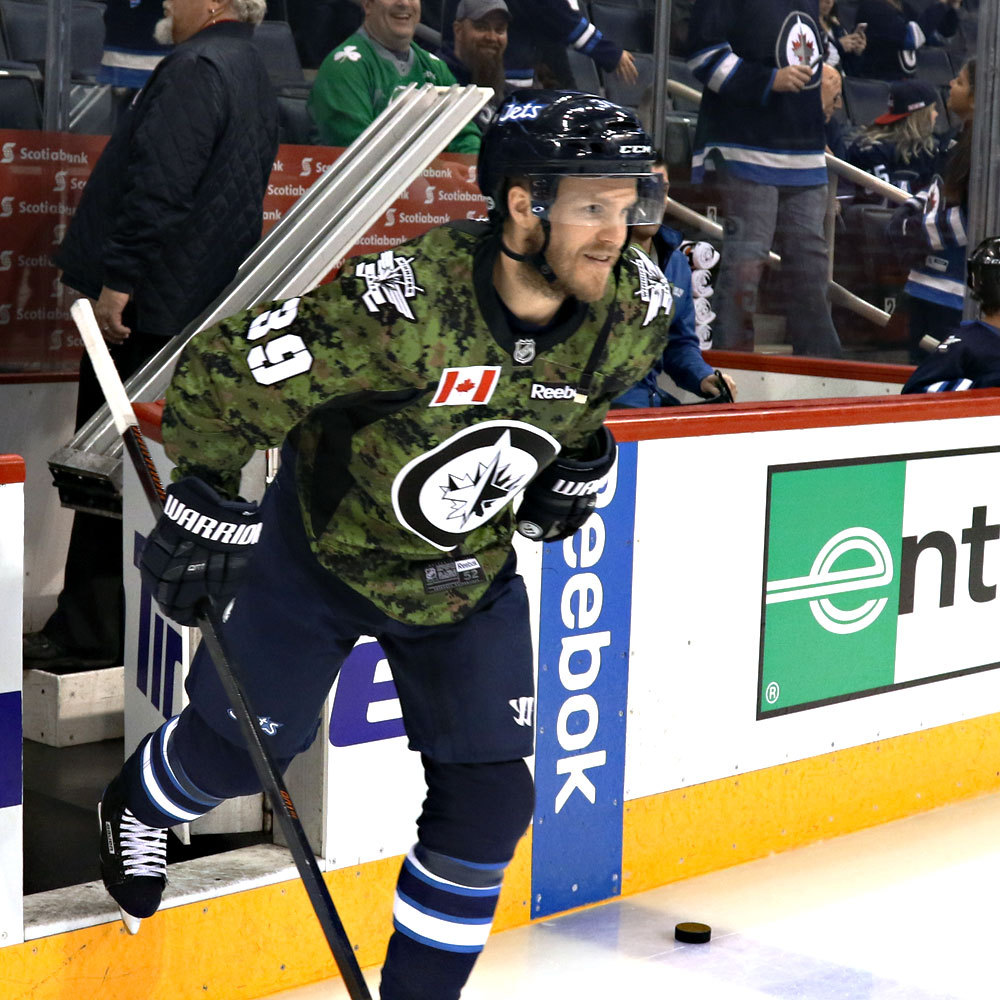 Toby Enstrom Winnipeg Jets Warm Up Worn Canadian Armed Forces jersey