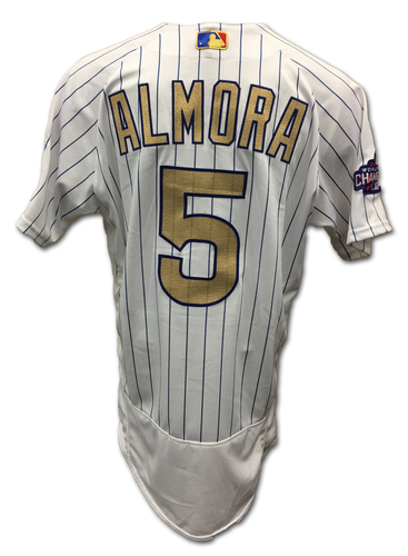 Photo of Albert Almora Ring Ceremony Game-Used Gold Jersey -- Dodgers vs. Cubs -- 4/12/17