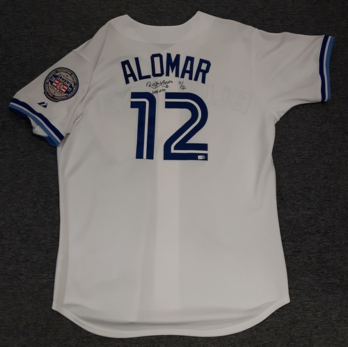 Photo of Authenticated Autographed Jersey - #12 Roberto Alomar. Size 48.