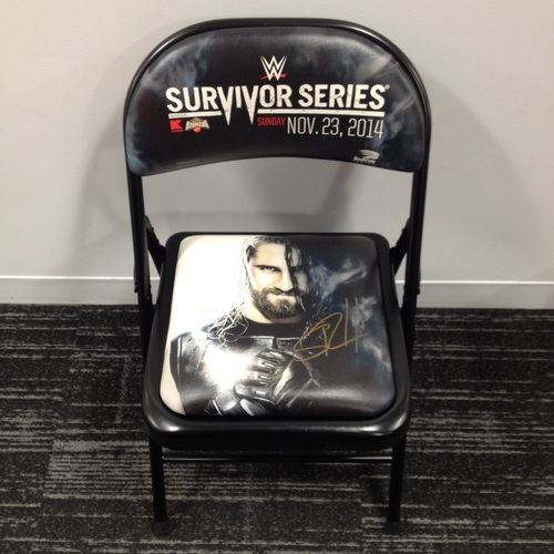 Rollins Chair: Seth Rollins SIGNED 2014 Survivor Series Event Chair