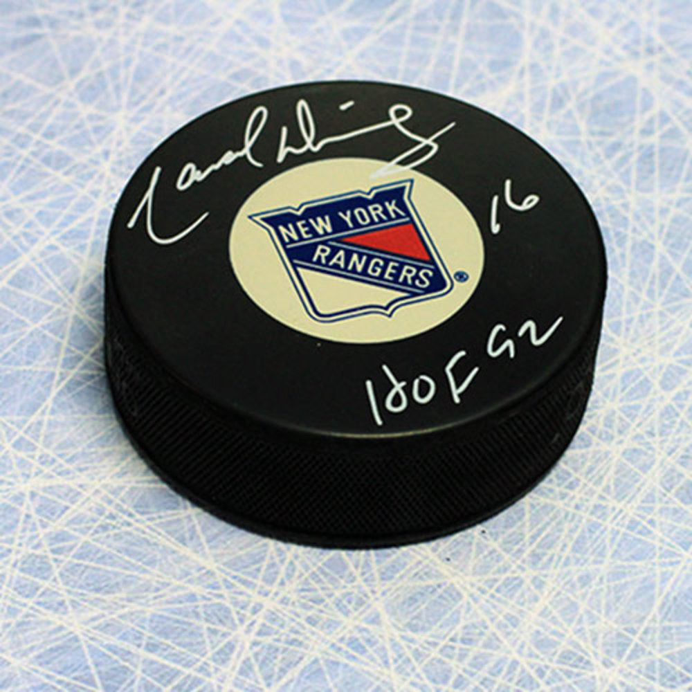 Marcel Dionne New York Rangers Autographed Hockey Puck with HOF Note