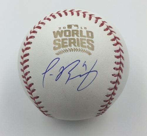 Photo of Javier Baez Autographed 2016 World Series Logo Baseball
