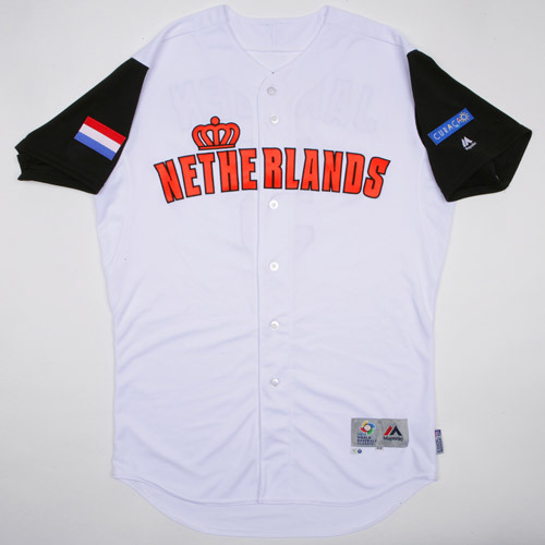 Photo of 2017 WBC Netherlands Game-Used Home Jersey, Gregorius #18