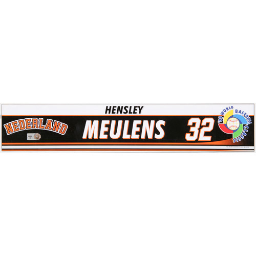 Photo of 2009 WBC: Netherlands Game-Used Locker Name Plate - #32 Coach Hensley Meulens