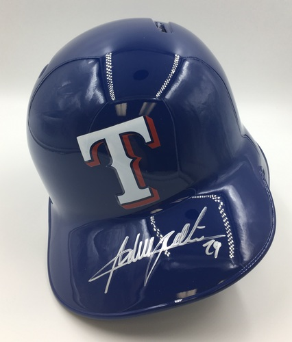 Photo of Adrian Beltre Autographed Rangers Helmet
