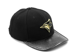 Wool with Embossed Leather Gator Visor & Pins Cap Black/Gold by New Era