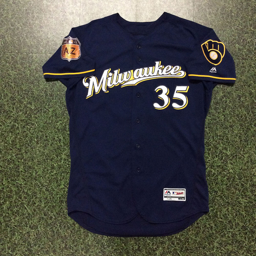 Photo of Brent Suter 2017 Game-Used Spring Training Jersey