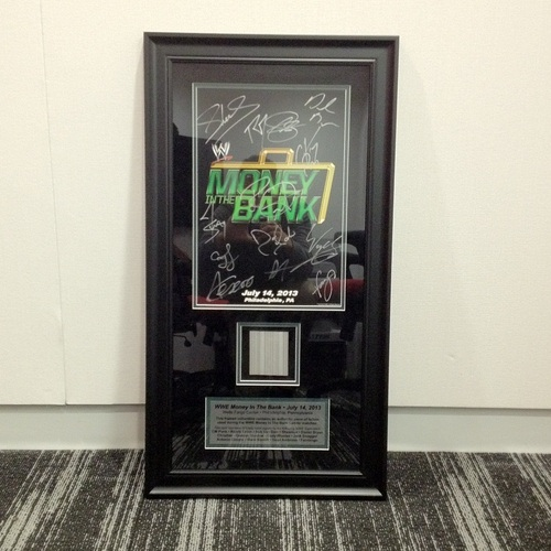 Money In The Bank 2013 SIGNED Plaque with piece of USED Ladder