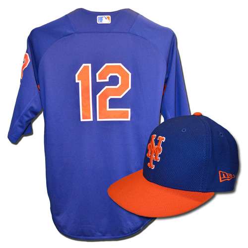 Juan Lagares #12 - Team Issued Blue Batting Practice Top and Hat Combination - 2017 Season