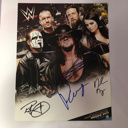 Photo of Undertaker, Sting, Paige, Randy Orton, & Daniel Bryan Autographed Photo Card