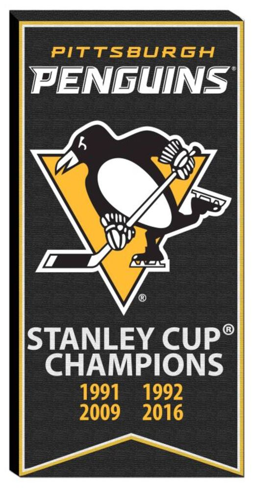 Pittsburgh Penguins - 14x28 Stanley Cup Banner With Team Logo Canvas