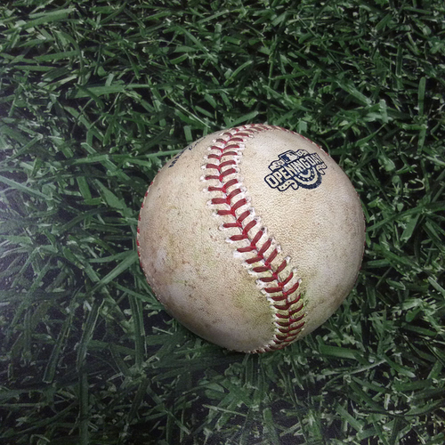 Photo of Game-Used Opening Day Baseball SF@MIL 04/04/16 - Blaine Boyer to Gregor Blanco: Ground Out