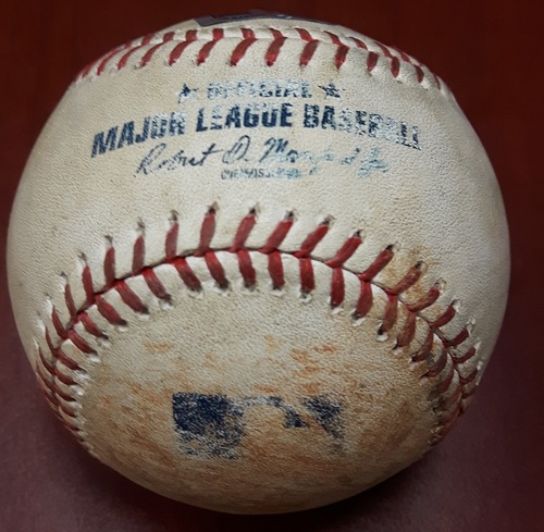 Photo of Authenticated Game Used Baseball - Mike Trout Single vs Francisco Liriano (Top 4): July 29, 2017
