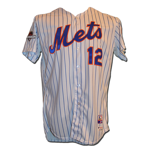 Photo of Juan Lagares #12 - 2015 NLDS Game 4; Lagares Goes 1-2 - Game Used White Pinstripe Jersey - Mets vs. Dodgers - 10/13/15