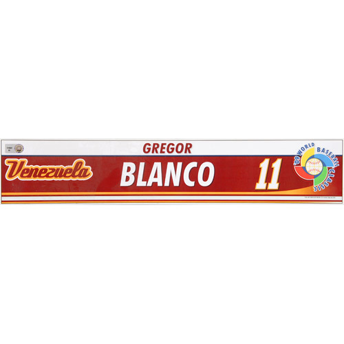Photo of 2009 WBC: Venezuela Team-Issued Locker Name Plate - #11 Gregor Blanco