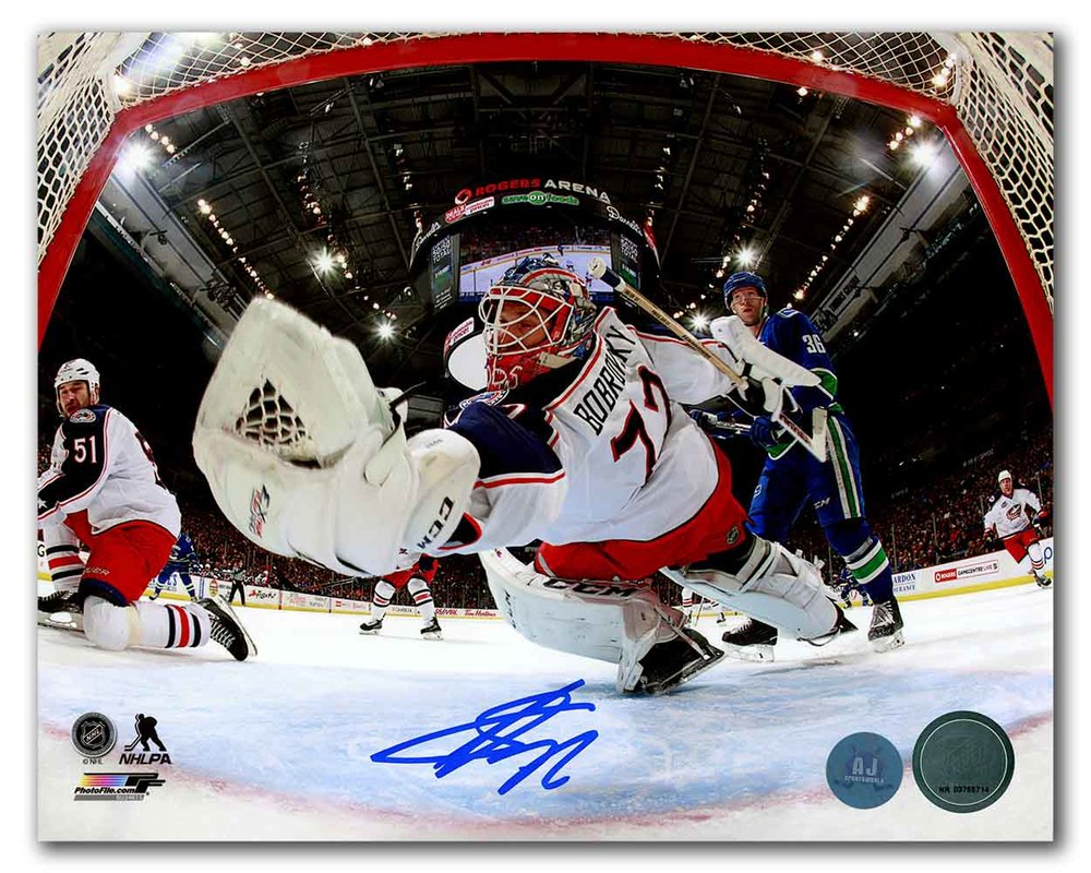Sergei Bobrovsky Columbus Blue Jackets Autographed Goalie Net Cam 8x10 Photo