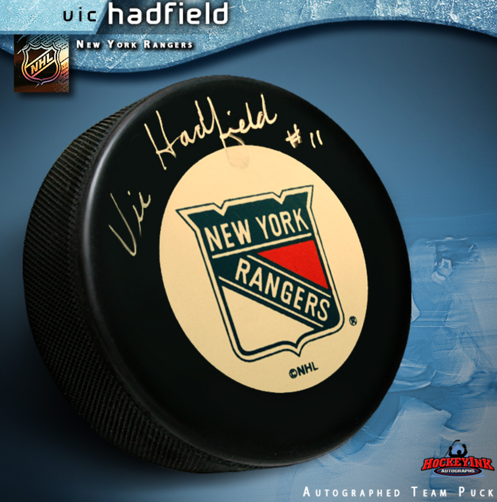 VIC HADFIELD Signed New York Rangers Puck