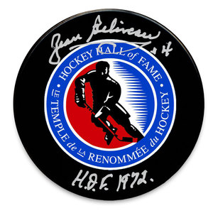 Jean Beliveau Hockey Hall of Fame Autographed Puck
