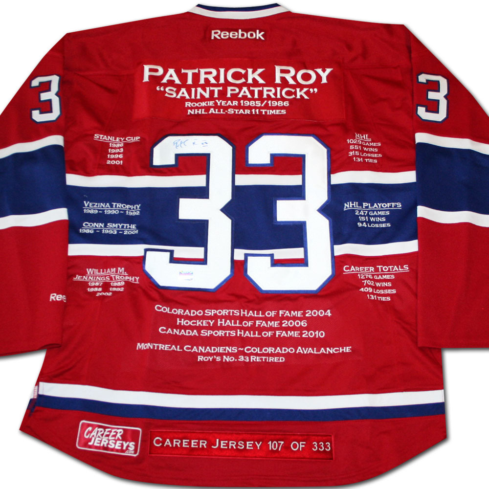 Patrick Roy Autographed Montreal Canadiens Limited-Edition Career Stats Jersey
